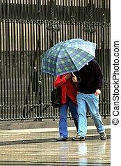 雨の日, 人々