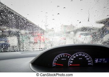 雨は 落ちる, 上に, フロントガラス, 自動車