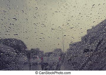 雨は 落ちる, 上に, フロントガラス, 自動車, 効果