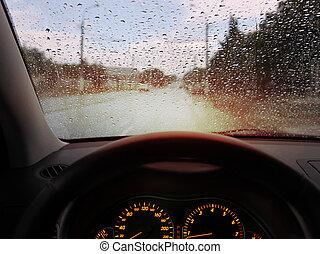 雨滴, 上に, フロントガラス