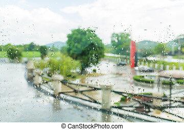雨滴, 上に, 透明, ガラス, 中に, 雨, 季節, ∥で∥, ぼやけ, 背景