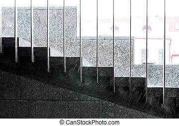 雨滴, 上に, 階段, の間, downpour., 豪雨, 中に, city.