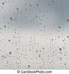 雨滴, 上に, a, ガラス