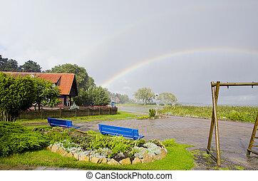 雨, そして, 虹, 中に, ∥, 海, リゾート