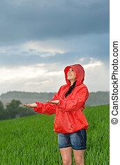 雨, のんびりしている, 若い, 天候, 女の子, 楽しむ