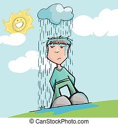 雨, ひどく, 下に, 運, 雲, 人