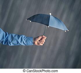 雨, ビジネスマン, 傘, 手