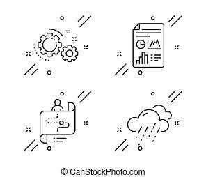 雨, ベクトル, アイコン, set., 天候, ギヤ, レポート, 道, 文書, 印。, 旅行