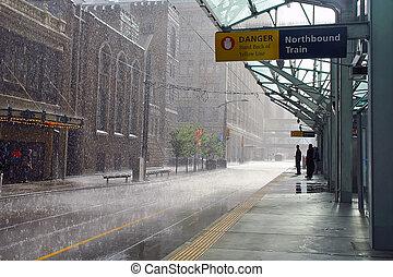 雨, 中に, calgary, カナダ