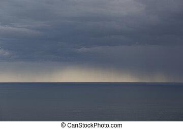 雨, 中に, ∥, sea.