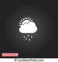 雨, 季節, 平ら, アイコン
