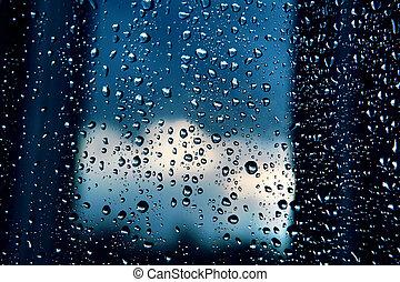 雨, 小滴, 上に, 窓