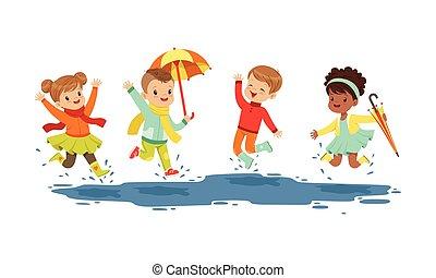 雨, 微笑, 日, 跳躍, 子供, ベクトル, イラスト, 水たまり, わずかしか