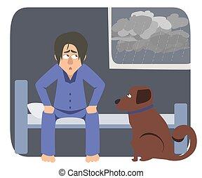 雨, 悲しい, の上, 目覚めること, 犬, 所有者, 朝