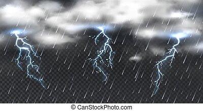 雨, 稲光, 雲, 透明, シャワー, storm., 現実的, 現象, バックグラウンド。, 雷, 雰囲気, 攻撃する, 重い, ベクトル