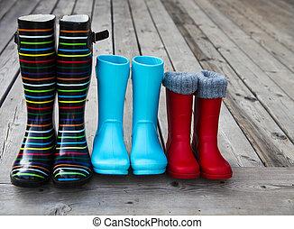雨, 組, 3, カラフルである, ブーツ
