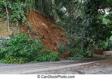 雨, 自然, 季節, 地すべり, の間, 災害