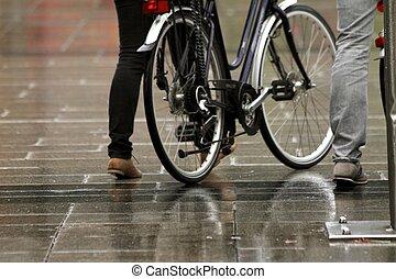 雨, 自転車, 日