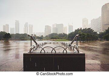 雨, 都市で
