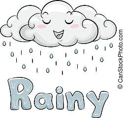 雨, 雲, イラスト, マスコット
