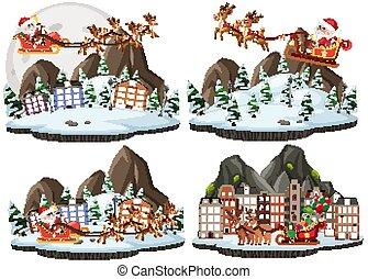雨, santa, クリスマス, claus, 漫画, セット, 鹿