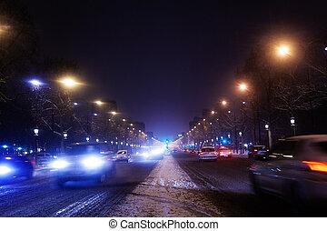 雪が多い, パリ, 大通り, des, 夜, チャンピオンelysees