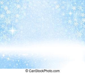 雪が多い, 青い背景