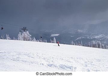 雪が多い, slope., 風景, 山, スノーボーダー