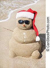 雪だるま, ありなさい, 概念, sand., 使われた, 作られた, 缶, 年, カード, 新しい, 休日, ...