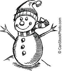 雪だるま, かわいい, スケッチ, 休日, 冬