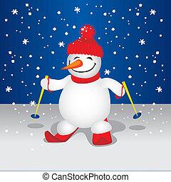 雪だるま, かわいい, (vector)