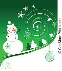 雪だるま, クリスマスカード, 幸せ
