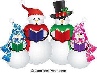 雪だるま, クリスマス, イラスト, carolers