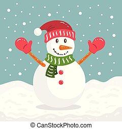 雪だるま, クリスマス, 冬