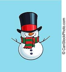 雪だるま, -, クリスマス, 微笑, 漫画, アイコン