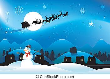 雪だるま, クリスマス, 背景