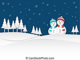 雪だるま, クリスマス, 背景, 冬, season., 積雪量, 幸せ