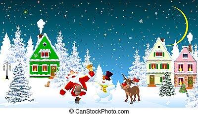 雪だるま, クリスマス, santa, 鹿, claus, 祝いなさい