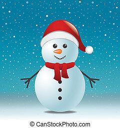 雪だるま, スカーフ, 帽子, 青い雪, 背景