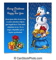 雪だるま, スケッチ, 二重, gifts., あなたの, カード, パーティー, クリスマス, 縦, お祝い, ポスター, text., イラスト, 招待, year., 新しい, カード, スペース, 挨拶, 袋, ベクトル, attributes, ∥あるいは∥