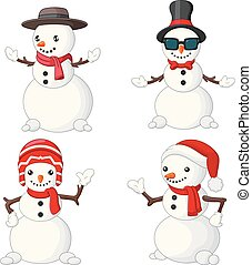 雪だるま, セット, 漫画, コレクション, クリスマス