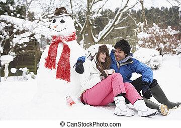 雪だるま, ティーンエージャーの, 冬, フラスコ, 恋人, 飲みなさい, 次に, 暑い, 風景