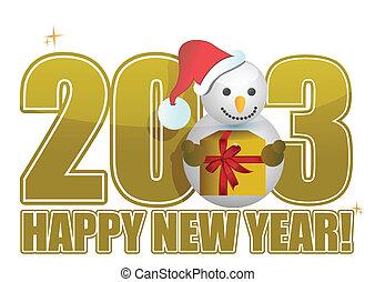 雪だるま, テキスト, 年, 新しい, 2013, 幸せ