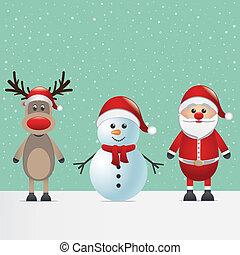雪だるま, トナカイ, claus, santa