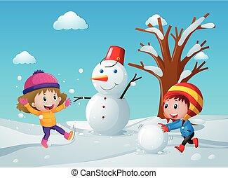 雪だるま, フィールド, 子供, 2, 作成
