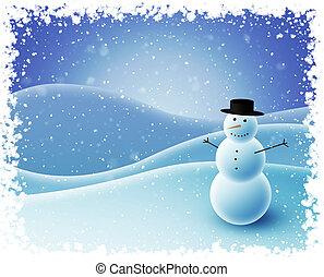 雪だるま, モデル, 丘, 雪が多い