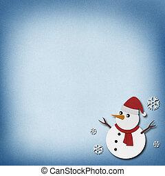 雪だるま, リサイクルされる, ペーパー, 技能, 上に, ペーパー, バックグラウンド。