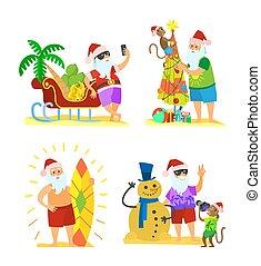 雪だるま, 傘, サル, claus, santa, 飾り付ける