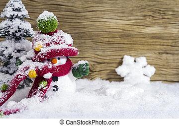 雪だるま, 地位, 冬, 装飾, クリスマス, 幸せ