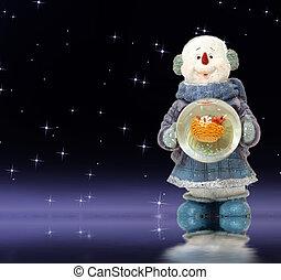 雪だるま, 夜, 愛らしい, クリスマスカード